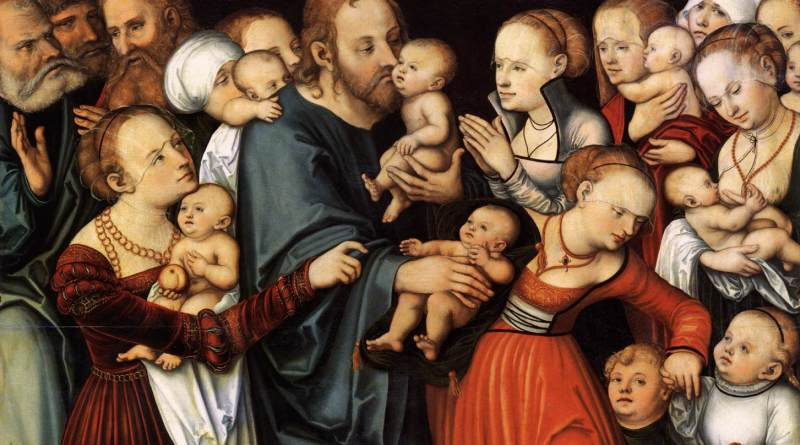 Christ Blessing the Children, by Lucas Cranach the Elder, c. 1535-40. Stadelsches Kunstinstitut, Franfurt, German. Via IllustratedPrayer.com