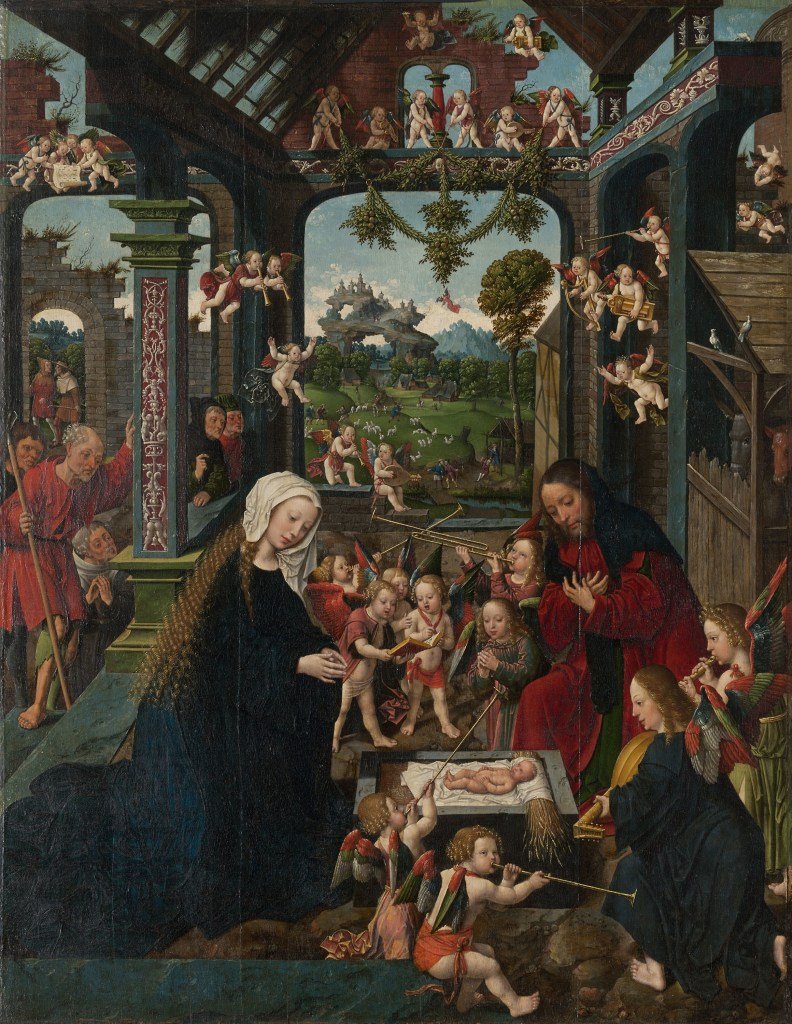 The Adoration of the Christ Child, by Jacob Cornelisz. van Oostsanen, c. 1515. Art Institute of Chicago, Chicago, Illinois, United States. Via IllustratedPrayer.com