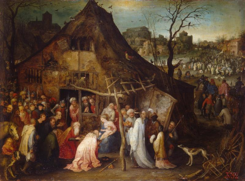 Adoration of the Magi, by Jan Brueghel, c. 1598-1600. State Hermitage Museum, St. Petersburg, Russia. Via IllustratedPrayer.com