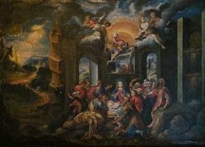 Adoration of the Shepherds, by Cusco School, c. 18th century. Museo de Arte Religioso, Palacio Arzobispal, Cusco, Peru. Via IllustratedPrayer.com