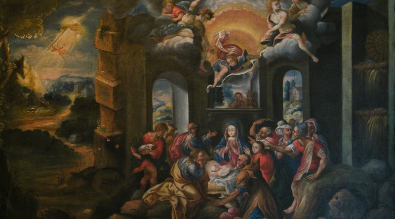 Adoration of the Shepherds, by Cusco School, c. 18th century. Museo de Arte Religioso, Palacio Arzobispal, Cusco, Peru. Via IllustratedPrayer.com