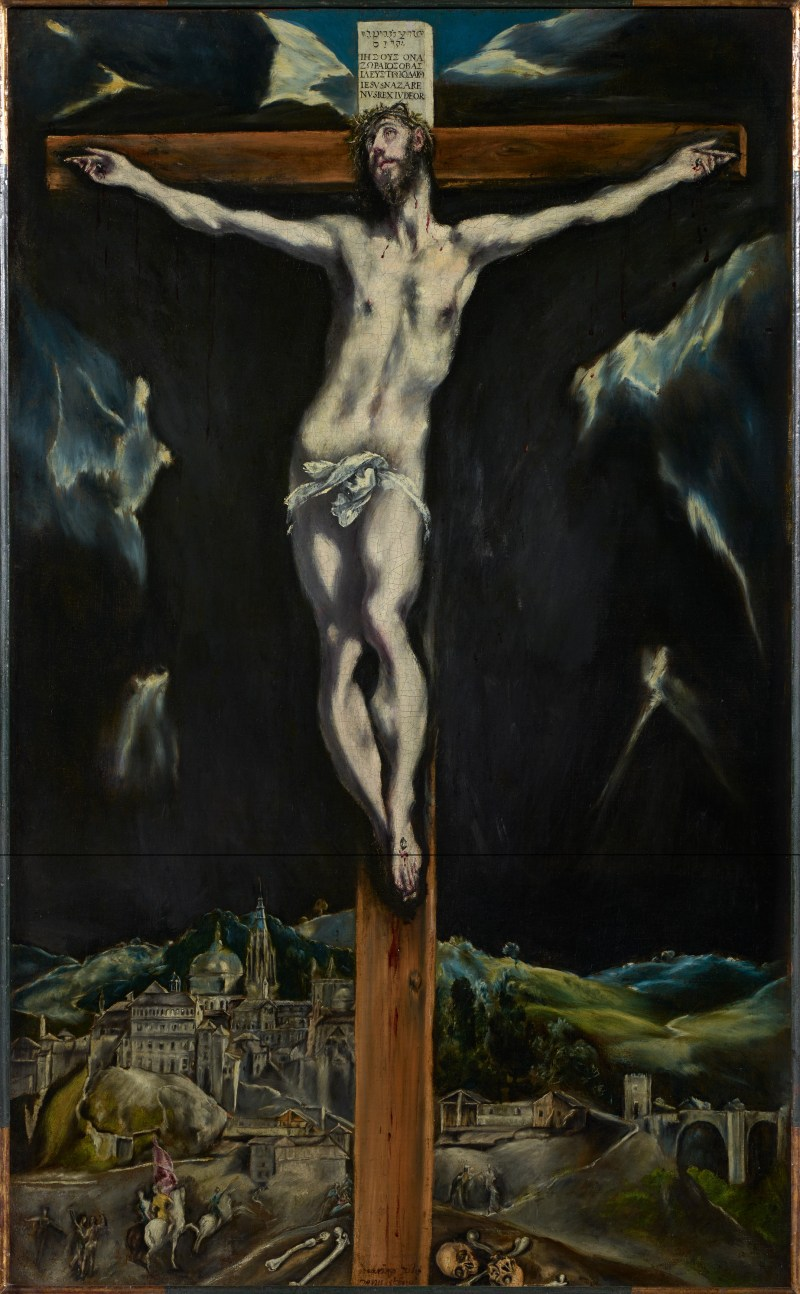 Christ Crucified with Toledo in the Background, by El Greco (Domenikos Theotokopoulus), c. 1604-1614. Fundación Banco Santander, Madrid, Spain. Via IllustratedPrayer.com