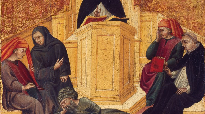 St. Thomas Aquinas Confounding Averroës, by Giovanni di Paolo, c. 1445-50. St. Louis Art Museum, St. Louis, Missouri, United States. Via IllustratedPrayer.com