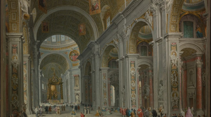 Interior of Saint Peter's, Rome, by Giovanni Paolo Panini, c. 1754. Metropolitan Museum of Art, New York, New York, United States. Via IllustratedPrayer.com