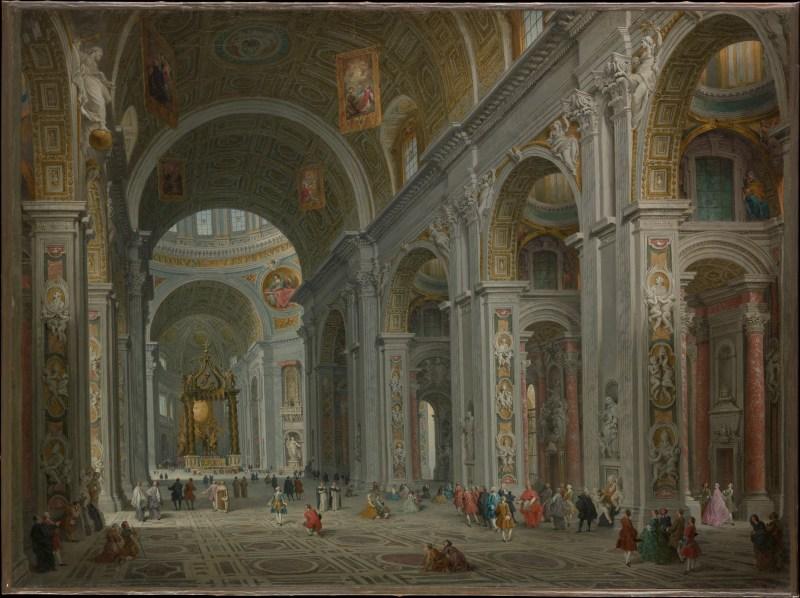 Interior of Saint Peter's, Rome, by Giovanni Paolo Panini, c. 1754. Metropolitan Museum of Art, New York, New York, United States. Via IllustratedPrayer.com