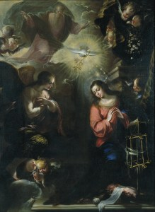 The Annunciation, by Francisco de Solis, c. 1664. Museu Nacional d'Art de Catalunya, Barcelona, Spain. Via IllustratedPrayer.com