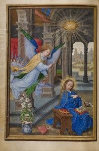 The Annunciation, by Simon Bening, c. 1525-30. J. Paul Getty Center, Los Angeles, California, United States. Via IllustratedPrayer.com