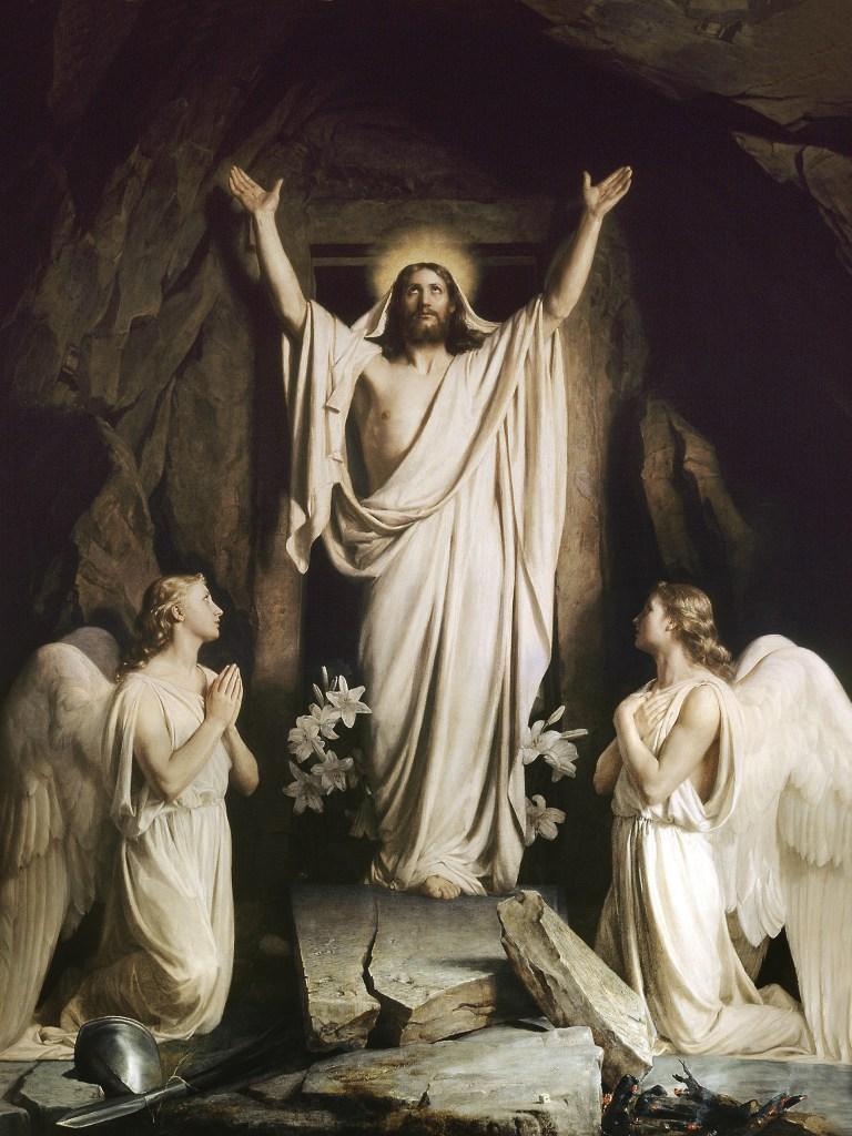 Resurrection of Christ, by Carl Heinrich Bloch, c. 1875. Frederiksborg Museum, Copenhagen Denmark. Via IllustratedPrayer.com