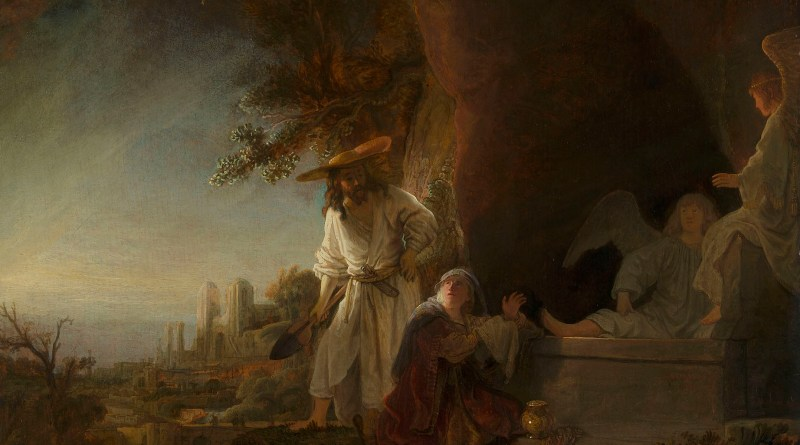 Christ and Saint Mary Magdalene at the Tomb, by Rembrandt van Rijn., c. 1638. Royal Collection Trust, London, United Kingdom.