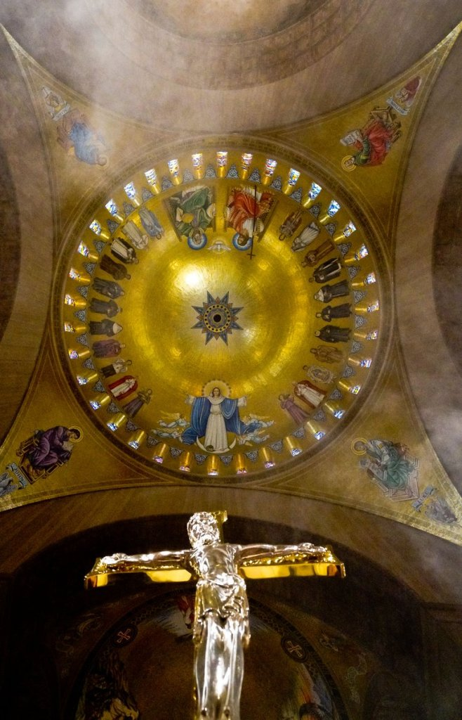 Trinity Dome with a Crucifix, Basilica of the Immaculate Conception, Washington, D.C., United States.