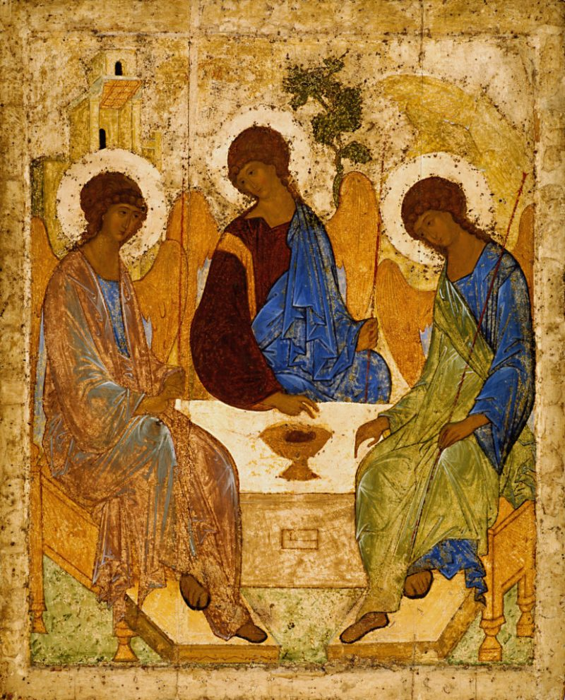 The Holy Trinity, by Andrei Rublev, c. 15th century. Tretyakov Gallery, Moscow, Russia.