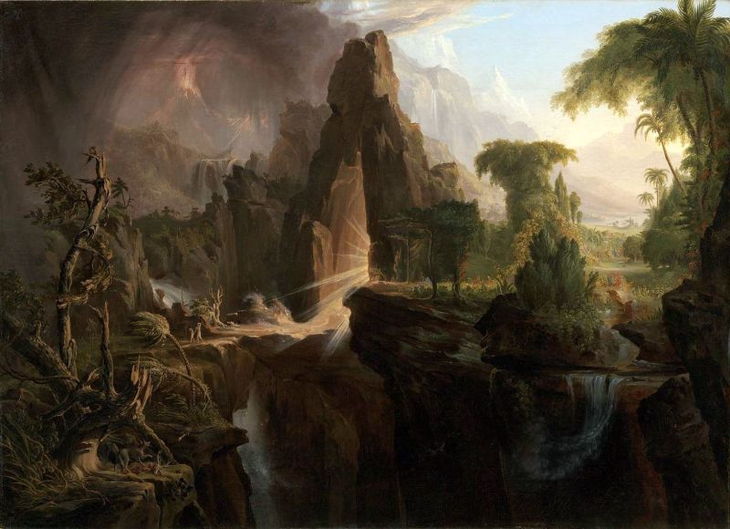 Expulsion from the Garden of Eden, by Thomas Cole, c. 1828. Museum of Fine Arts, Boston, Massachusetts, United States.