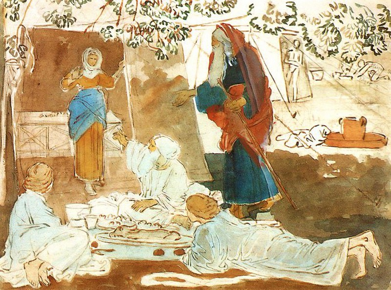 Three Guests Announce Isaac's Birth to Abraham, by Alexander Ivanov, c. 19th century. Tretyakov Gallery, Moscow, Russia.