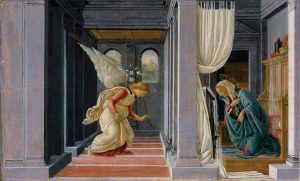 The Annunciation, by Sandro Botticelli, c. 1485-92. Metropolitan Museum of Art, New York, New York, United States.