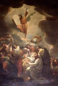 Moses Receiving the Law on Mount Sinai, by Benjamin West, c. 1784. Parliamentary Art Collection, London, United Kingdom.