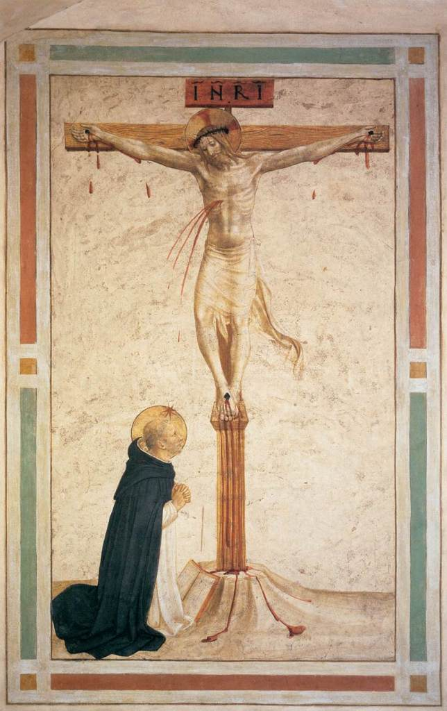 Crucifixion with Saint Dominic, by Fra Angelico, c. 15th century. Convento di San Marco (cell 17), Florence, Italy.