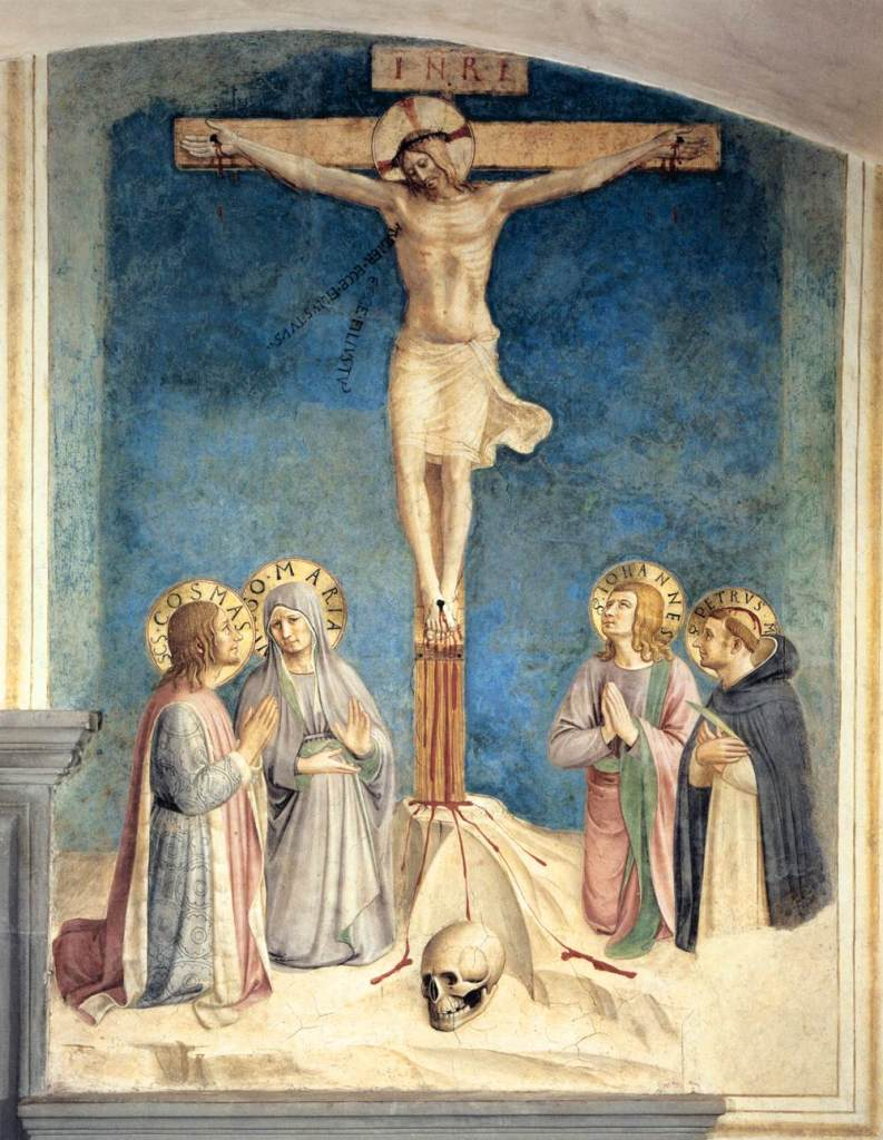 Crucifixion with Saints, by Fra Angelico, c. 15th century. Convento di San Marco (cell 38), Florence, Italy.