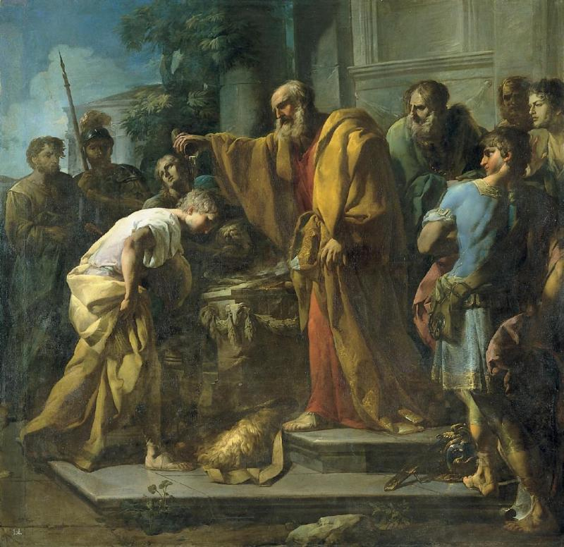 The Annointing of David by Samuel, by Antonio González Velázquez, c. 18th century. Royal Academy of Fine Arts of San Fernando, Madrid, Spain.
