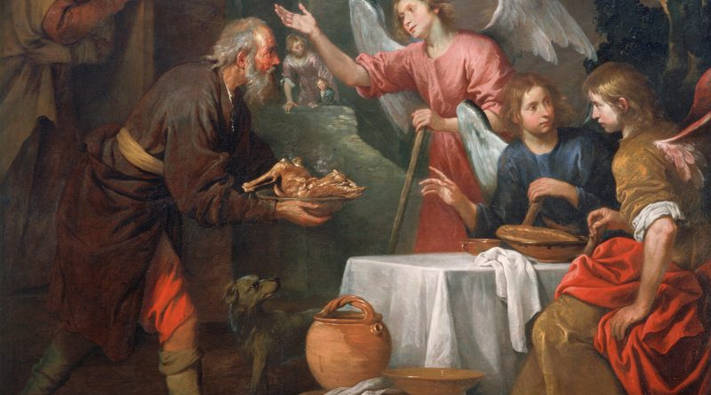 Abraham and the Three Angels, c. Giovanni Andrea de' Ferrari, c. 1660-69. Saint Louis Art Museum, Saint Louis, Missouri, United States.