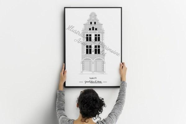 illustration_de_patrimoine_anne_létondot_affiche_carte_postale_arras_grand_place_maison_nord_pas_de_calais_hauts_de_france_architecture