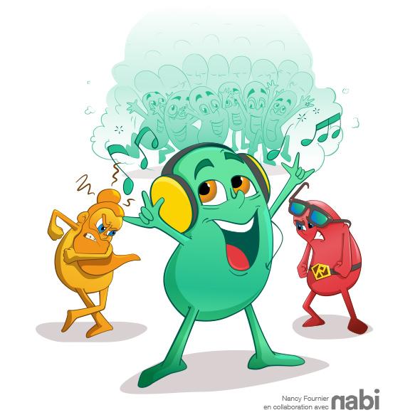 Bean rouge, jaune et verte, agence nabi. illustration nancy fournier, cartoon, lunette, superman, écouteur, colère, triste, content, happy