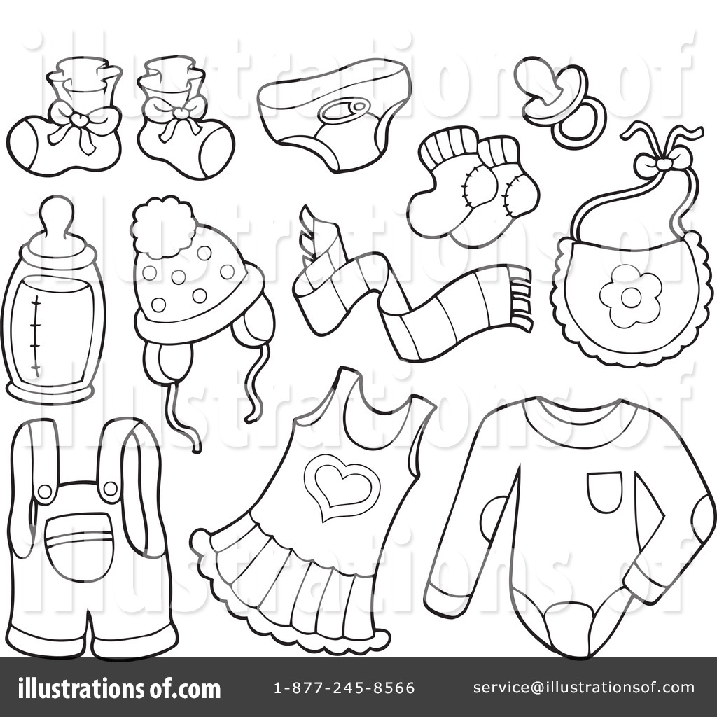 Free Baby Items Clip Art Black And White Sketch Coloring Page