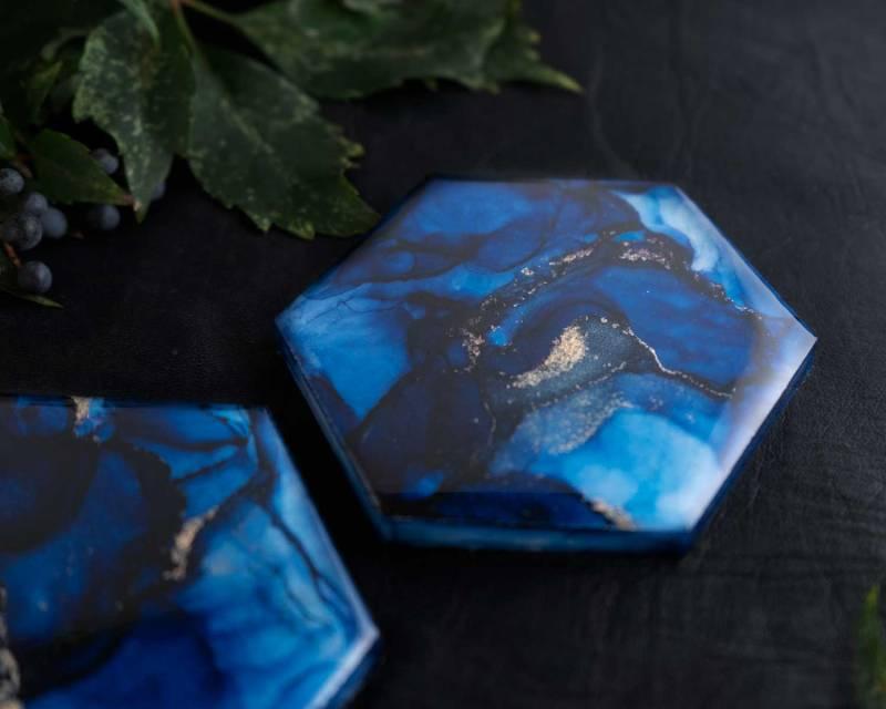 Elysium Carrara Marble Coasters in Sapphire