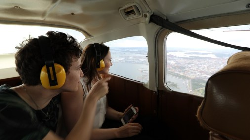 Tässä vaiheessa Timo ja Laura olivat löytäneet alhaalta jo useita tuttuja kohteita. Tästä lento suuntautui koilliseen, lähes heidän Vallilan kotinsa ylitse.