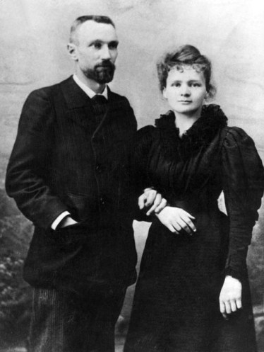 "SCEAUX, FRANCE: Picture dated probably 1895 shows Marie Curie-Skolodowska with Pierre Curie shortly after their wedding. Marie Curie and her husband, the French physicist, Pierre Curie, were the discoverers of radium and won the Nobel prize for physics in 1903. Pierre Curie was born in Paris 15 May 1859 and his most important contributions to physics was the discovery that the magnetic properties of substances change at certain temperature, known as the ""Curie point."" He became known for his work on radioactivity carried out jointly with his wife Marja (Marie) Sklodowska (born in Warsaw 07 November 1867) whom he married in 1895. On 18 July 1898, they announced the discovery of two new elements in the mineral uranium, polonium and radium. The work of the Curie couple laid the foundation for much of the later research in nuclear physics and chemistry. Marie Curie was the first person to receive two Nobel prizes when she was awarded the Nobel Photo datant de 1895 de Pierre et Marie Curie avant leur mariage. Le Professeur Marie Curie et son mari, le physicien Pierre Curie, ont annoncT il y a 100 ans, le 18 juillet 1898, la dTcouverte du Polonium, avant de recevoir le Prix Nobel de physique en 1903. AFP PHOTO AFP ARCHIVES/-/vn/cd prize for chemistry in 1911. (Photo credit should read AFP/Getty Images)"