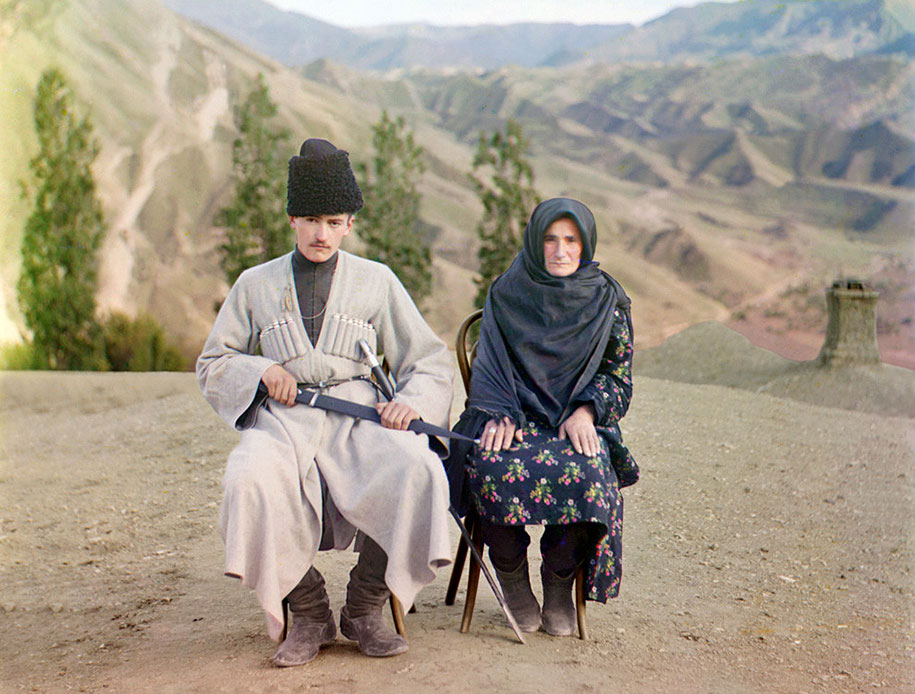 3 A man and woman pose in Dagestan, ca. 1910