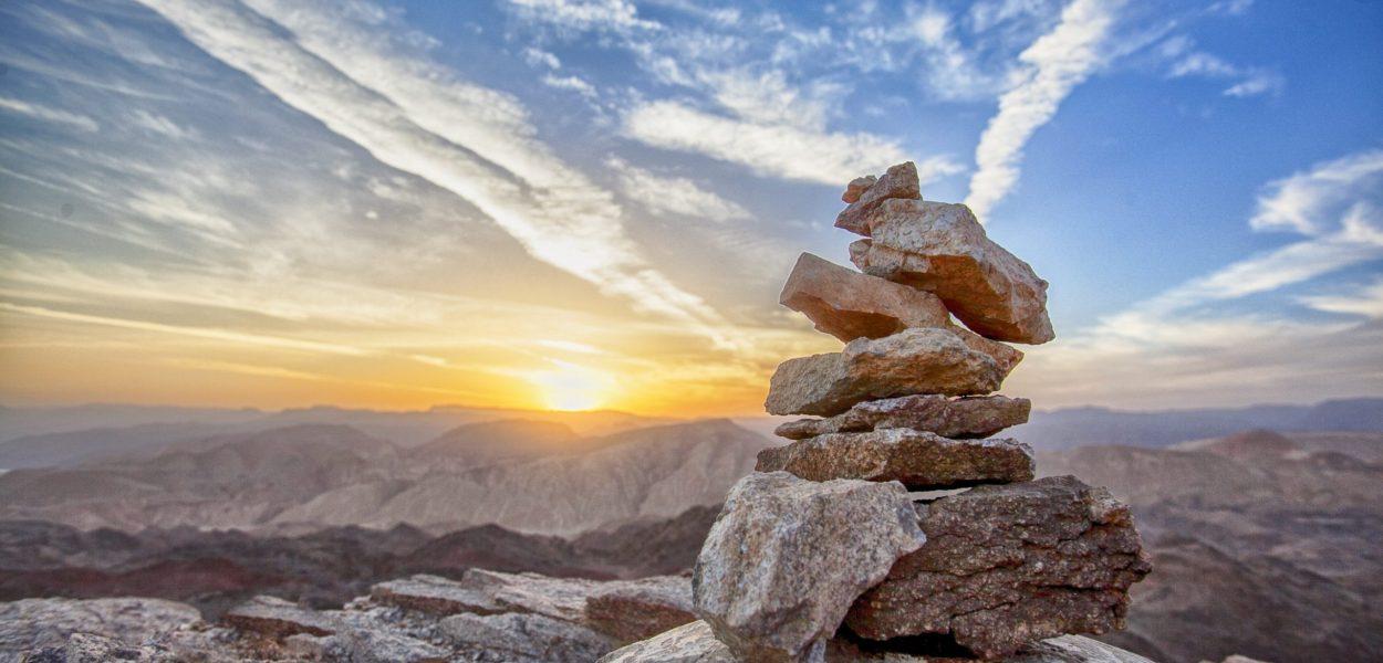 sunset, mountain, balance