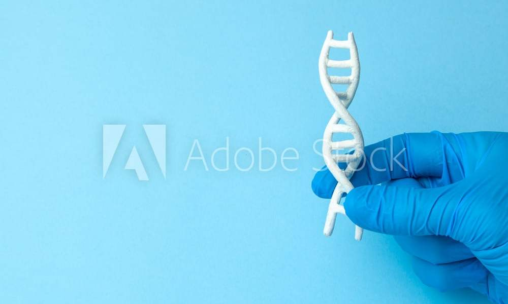 DNA helix research. Concept of genetic experiments on human biological code DNA. Scientist holds DNA helix.