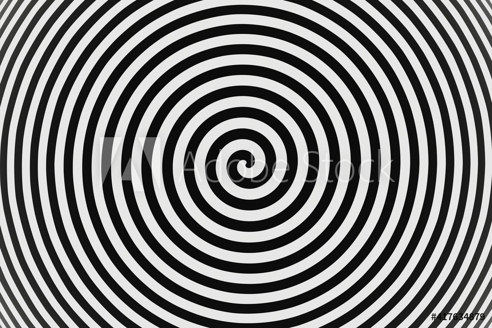 abstract Psychedelic twisting Hypnos Circles black and white background 3D rendering