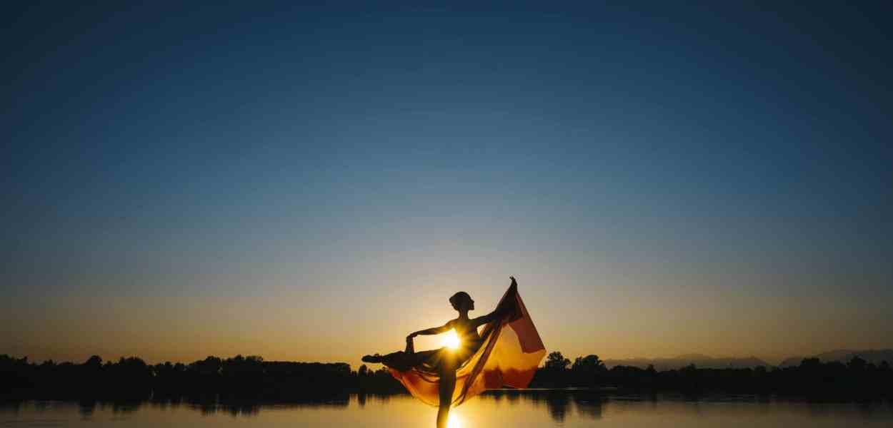 ballerina, lake, sunset