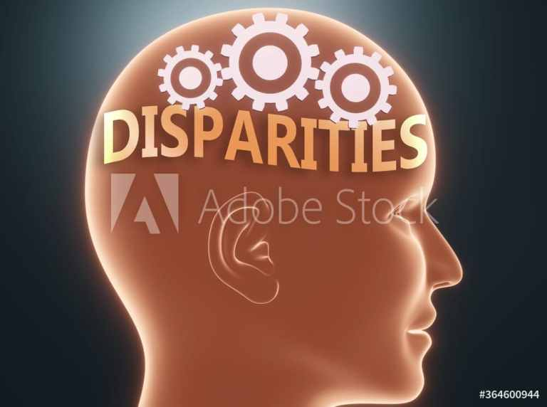 Disparities inside human mind - pictured as word Disparities inside a head with cogwheels to symbolize that Disparities is what people may think about, 3d illustration