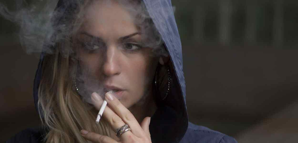 woman, smoking, cigarette