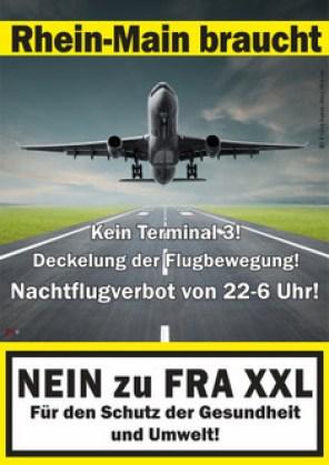 Uno dei manifesti delle iniziative contro l'espansione dell'aeroporto. Dal sito.