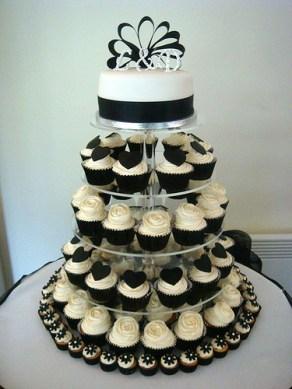 White-and-Black-Wedding-Cupcake-Tower