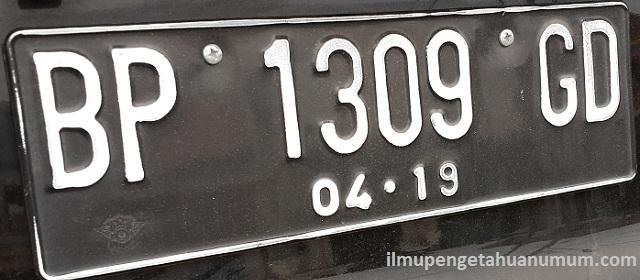 Kode Plat Nomor/ Tanda Nomor Kendaraan Bermotor di Indonesia