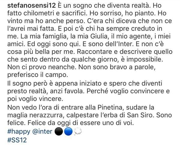 Il post di Stefano Sensi, senza l'hashtag #passainter ed il testo modificato
