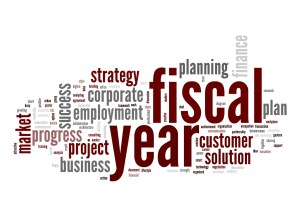 a word diagram including FISCAL YEAR in large print, then strategy, planning, success, project, etc.