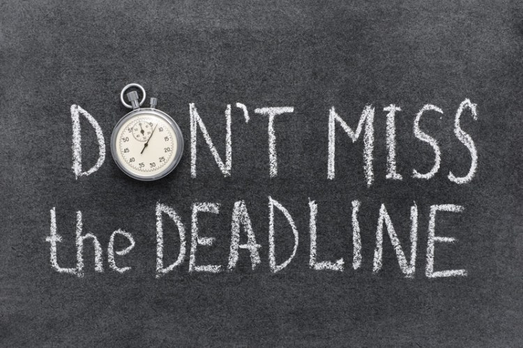 "Chalkboard with the words Don't Miss the Deadline. The O in Don't is a stopwatch.  <!-- HTML Credit Code for Can Stock Photo --> <a href=""https://www.canstockphoto.com"">(c) Can Stock Photo / yuryz</a>"