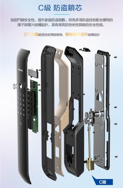 台中電子鎖安裝推薦 飛利浦9200 philips 9200 C級鎖心