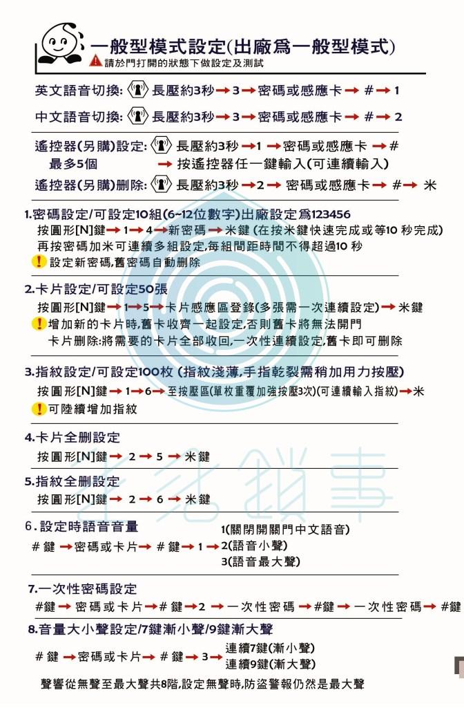 美樂電子鎖說明書 7150-021