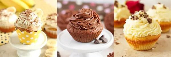 banana cupcakes, brownie cupcakes, white chocolate cupcakes.