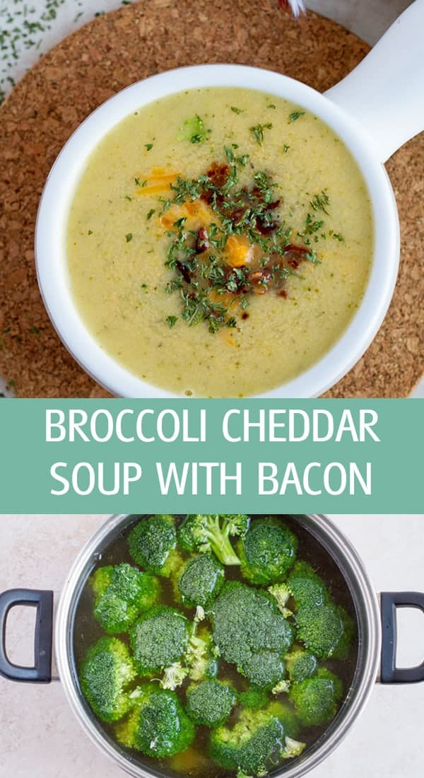 Broccoli in a pot with water and cheese soup.