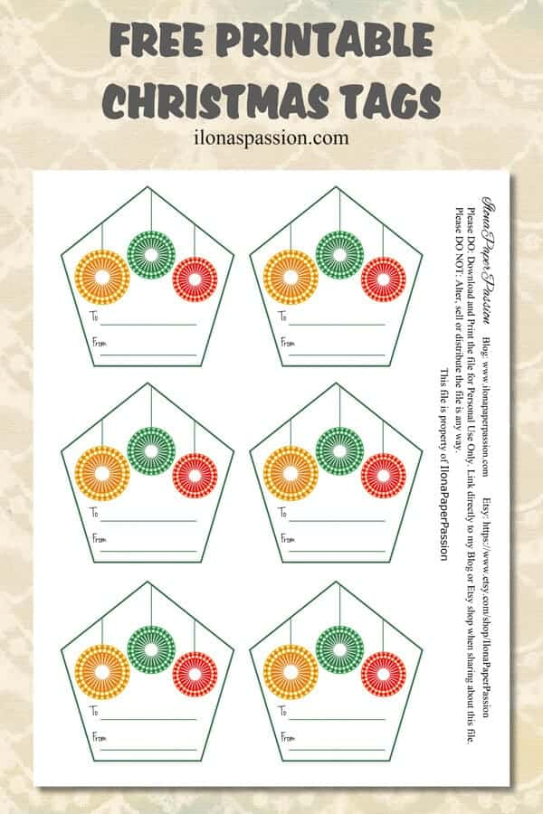Free Printable Christmas tags are great to attach to present or gift during holidays. Get your free printable Christmas tags today! by ilonaspassion.com I @ilonaspassion