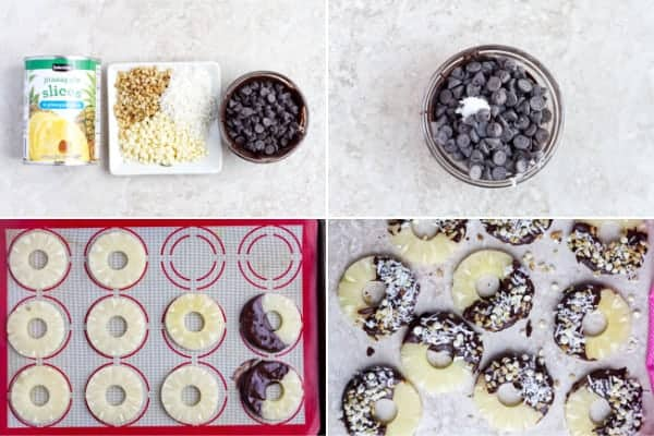 Step by step how to make canned pineapple with chocolate and nuts.