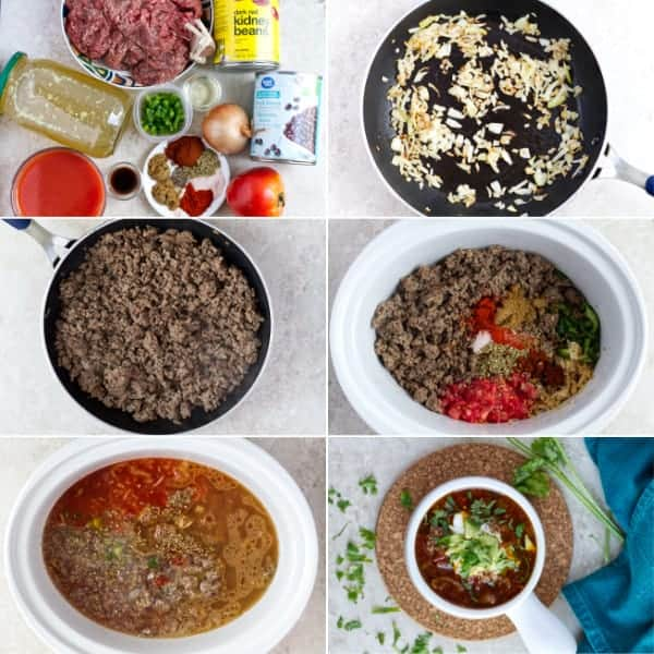How to make chili in crockpot with beans, tomatoes and spices.