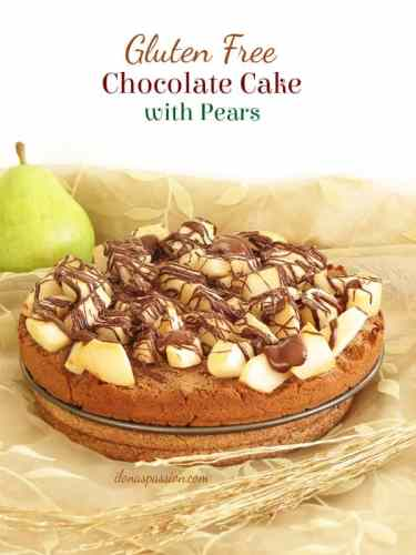 Gluten Free Chocolate Cake with Pears by ilonaspassion.com